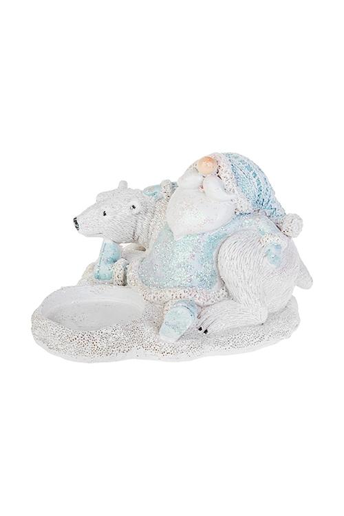 Подсвечник для свечи-таблетки Дед Мороз с полярным мишкойИнтерьер<br>10*11*8см, полирезин, бело-голубой<br>
