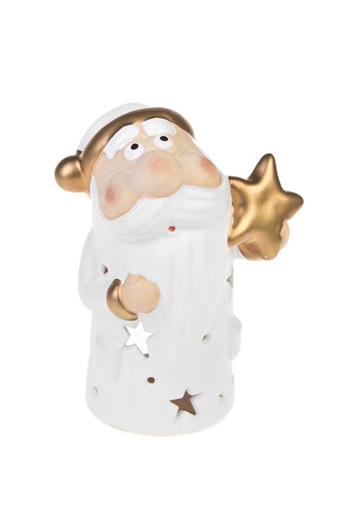 Подсвечник для свечи-таблетки новогодний Дед Мороз - звездочетПодсвечники<br>Выс=17см, керам., крем.-золот. (3 вида)<br>