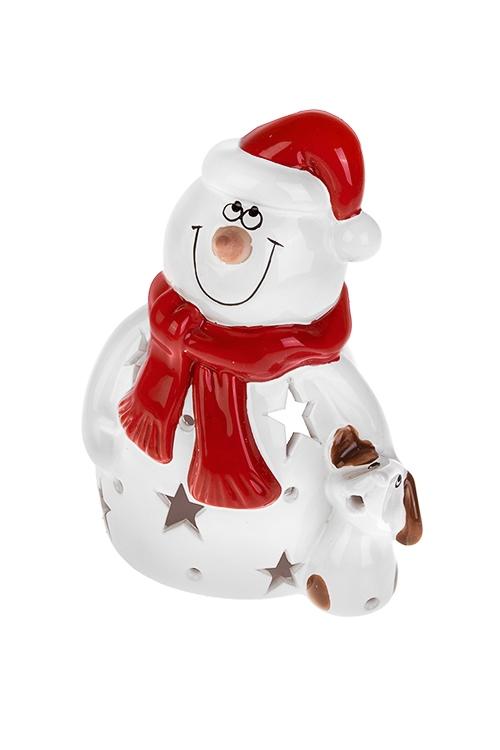 Подсвечник для свечи-таблетки Снеговик с собачкойИнтерьер<br>Выс=18см, керам., бело-красный<br>