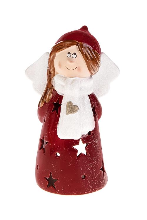 Подсвечник для свечи-таблетки Девочка-ангелИнтерьер<br>11*21см, керам., красно-белый (2 вида)<br>