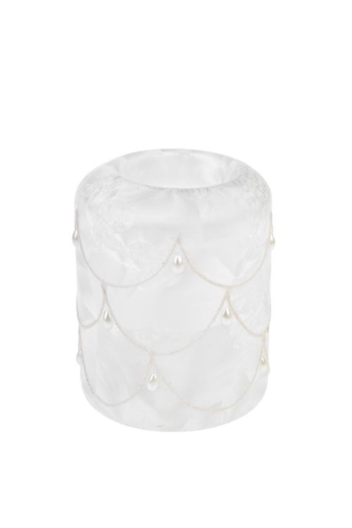 Подсвечник для свечи-таблетки светящийся Морозное утроПодарки<br>Выс=10см, стекло, на батар., руч. раб.<br>