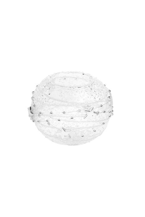 Подсвечник для свечи-таблетки Сияние звездПодсвечники<br>Д=8см, стекло, прозр.-серебр., ручная работа<br>