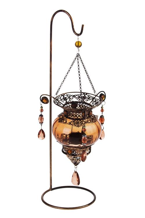 Подсвечник для свечи-таблетки Восточная лампаИнтерьер<br>Выс=42см, металл, стекло, коричн.-золот.<br>
