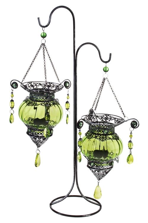 Подсвечник для 2-х свечей-таблеток Восточная лампаПодарки ко дню рождения<br>Выс=50см, металл, стекло, зелено-серебр.<br>