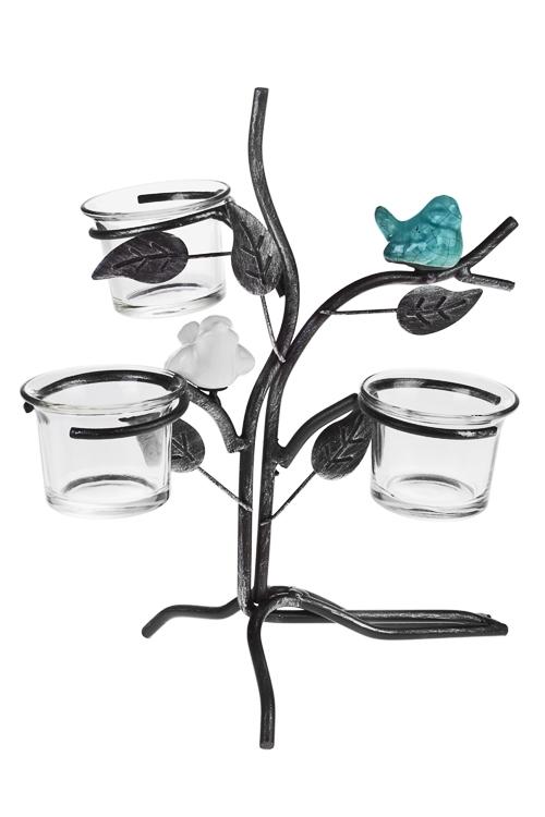 Подсвечник для 3-х свечей-таблеток Птички на веточкеПодарки ко дню рождения<br>21*14*24см, металл, керам.<br>