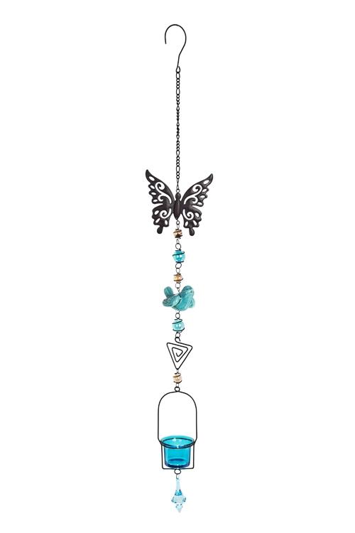 Подсвечник для свечи-табл. Бабочка и птичкаПодарки на день рождения<br>Выс=85см, металл, стекло, коричн.-голубой, подвесной<br>