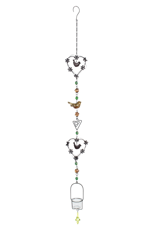 Подсвечник для свечи-табл. Птички и сердцаПодарки на день рождения<br>Выс=120см, металл, стекло, коричн.-зеленый, подвесной<br>
