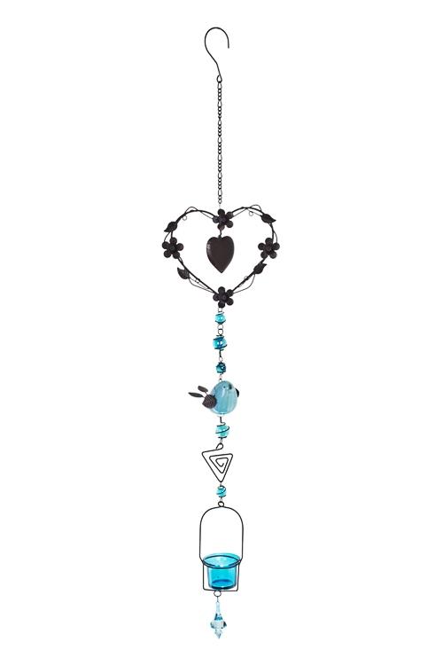 Подсвечник для свечи-табл. Птичка и сердцеИнтерьер<br>Выс=100см, металл, стекло, коричн.-голубой, подвесной<br>