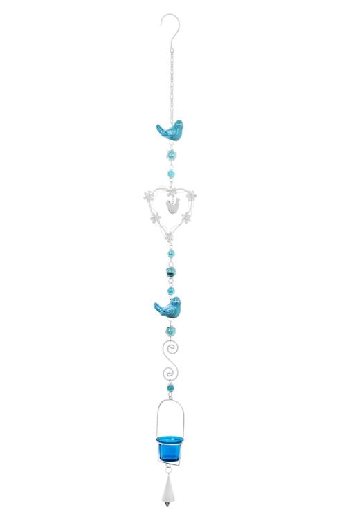 Подсвечник для свечи-таблетки Сердце и птичкиПодарки ко дню рождения<br>Выс=105см, металл, стекло, бело-голубой, подвесной<br>