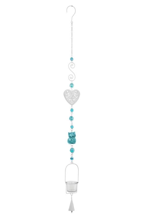 Подсвечник для свечи-табл. Сова и сердцеИнтерьер<br>Выс=100см, металл, стекло, бело-голубой, подвесной<br>