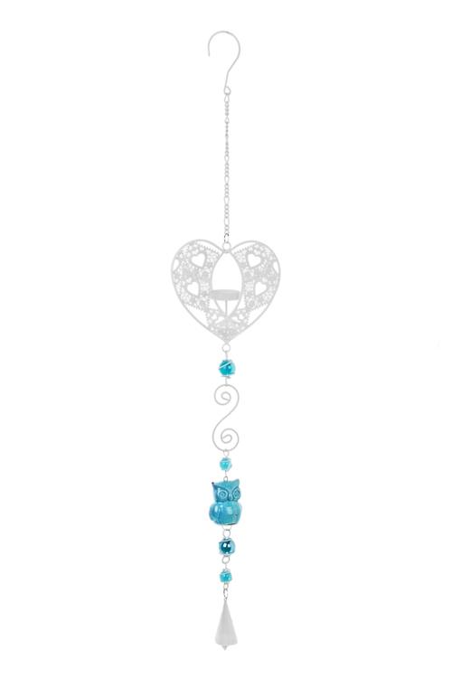 Подсвечник для свечи-табл. Совушка и сердцеПодарки на день рождения<br>Выс=70см, металл, керам., бело-голубой, подвесной<br>
