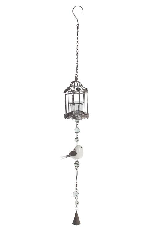 Подсвечник для свечи-табл. Птичка и клеткаПодарки на день рождения<br>Выс=90см, металл, стекло, керам., крем.-бел., подвесн<br>