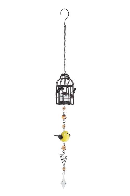 Подсвечник для свечи-таблетки Птичка и клеткаПодарки на день рождения<br>Выс=80см, металл, стекло, коричн-желтый, подвесной<br>