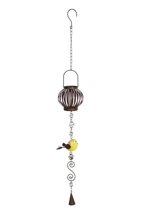 Подсвечник для свечи-таблетки ПтицаИнтерьер<br>Выс=85см, металл, стекло, керам., коричн.-желтый, подвесной<br>