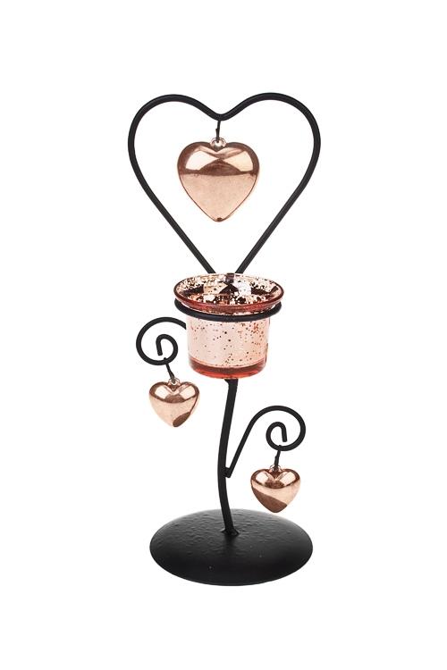 Подсвечник для свечи-таблетки СердцаПодсвечники<br>Выс=24см, металл, стекло, роз. золот.<br>