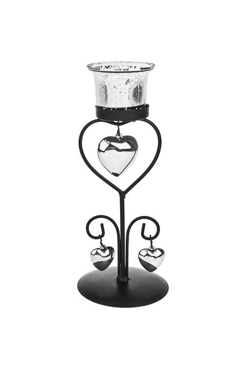 Подсвечник для свечи-таблетки СердцаИнтерьер<br>Выс=22см, металл, стекло, серебр.<br>