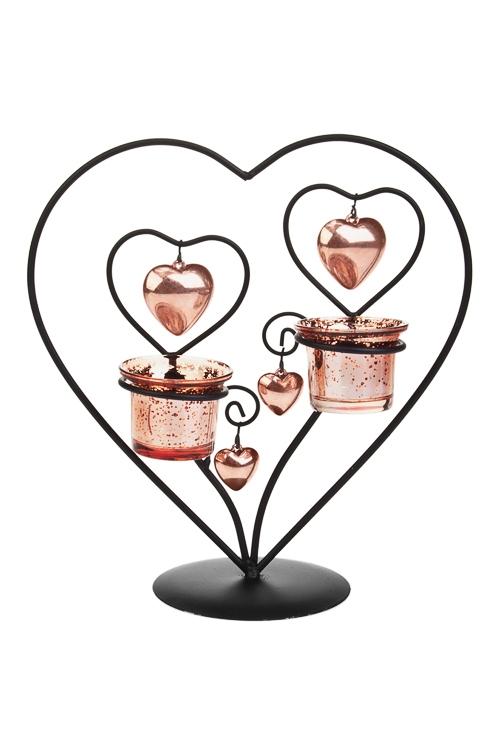 Подсвечник для 2-х свечей-таблеткок СердцаИнтерьер<br>28*25*12см, металл, стекло, роз. золот.<br>