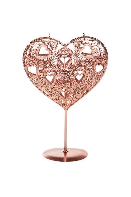 Подсвечник для свечи-таблетки Кружевное сердцеПодсвечники<br>Выс=23см, металл, роз. золот.<br>