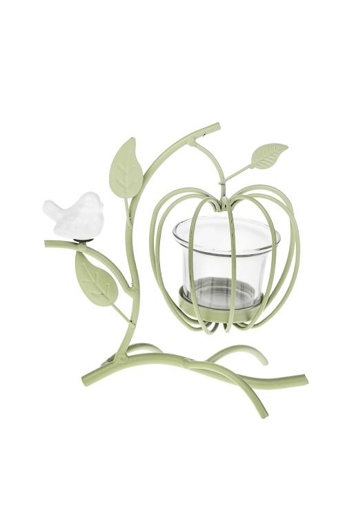 Подсвечник для свечи-таблетки Райское деревоПодсвечники<br>15*9*17см, металл, керам., стекло, зелено-белый<br>