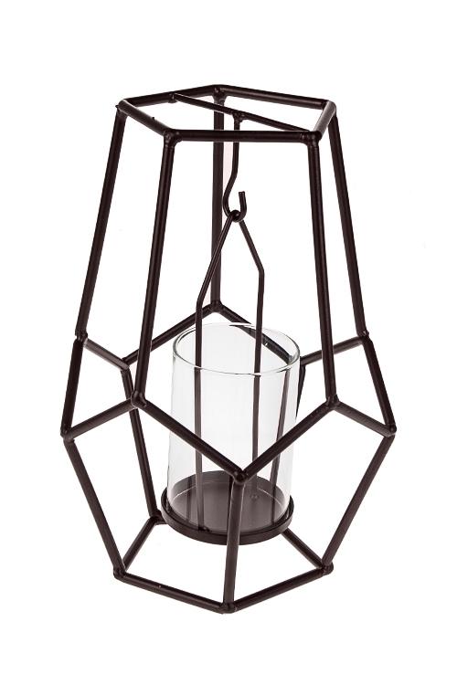 Подсвечник для свечи-таблетки ЛофтИнтерьер<br>17*24см, металл, стекло, коричневый<br>