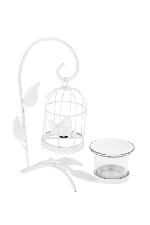 Подсвечник для свечи-таблетки Птичка в клеткеИнтерьер<br>16*9*20см, металл, керам., стекло, белый<br>