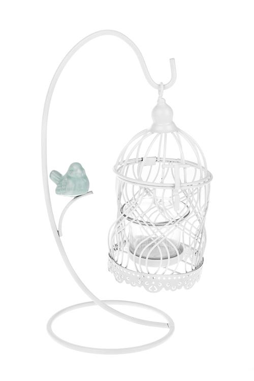 Подсвечник для свечи-таблетки Птичка с клеткойИнтерьер<br>11*28см, металл, керам., стекло, бело-голубой<br>
