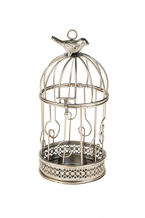 Подсвечник для свечи-таблетки Птичка на золотой клеткеИнтерьер<br>9*19см, металл, золот., подвесной<br>