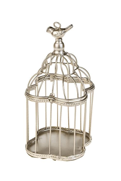 Подсвечник Птичка на золотой клеткеИнтерьер<br>13*25см, металл, золот., подвесной<br>