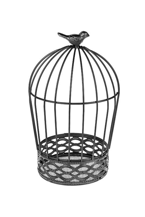 Подсвечник Птичка на клеткеПодсвечники<br>12*24см, металл, темно-серый<br>