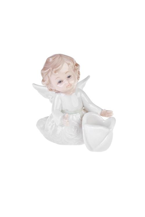 Подсвечник АнгелокПодсвечники<br>Выс=8см, фарфор, бело-крем.<br>