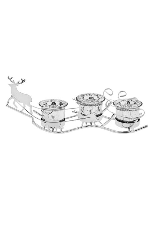 Подсвечник новогодний для 3-х свечей-таблеток Сани Деда МорозаПодсвечники<br>Дл=29см, металл, стекло, серебр.<br>