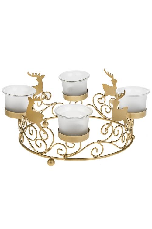 Подсвечник для 4-х свечей-таблеток Танец оленейИнтерьер<br>22*12см, металл, стекло, золот.<br>