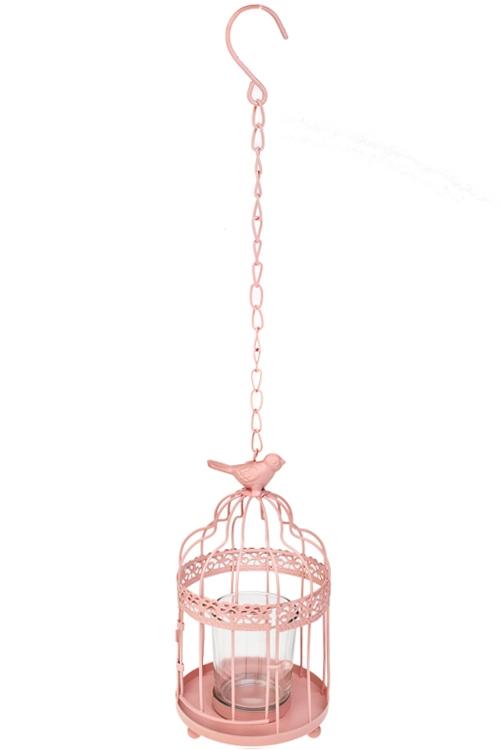 Подсвечник для свечи-таблетки Клетка с птицейИнтерьер<br>Выс=20см, металл, теплый розовый, подвесной<br>