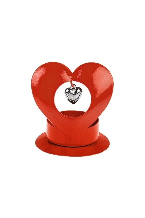 Подсвечник для свечи-таблетки Сердце в сердцеИнтерьер<br>Выс=7см, металл, красный<br>