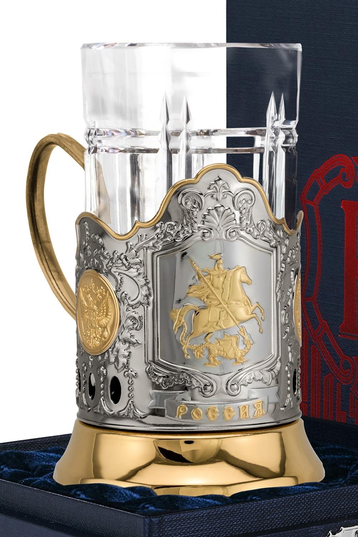 Набор для чая с подстаканником Георгий Победоносец подстаканник город подарков георгий победоносец со стаканом и ложкой высота 13 см