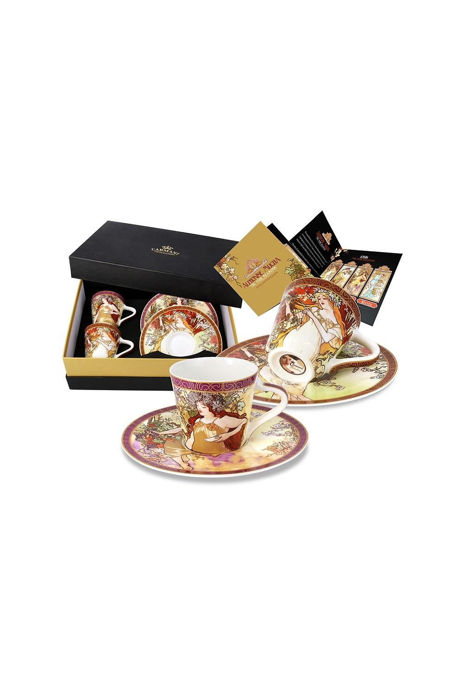 Кофейный набор Весна и Осень (А. Муха)Посуда<br>Бренд: Carmani. 0,11 л, костяной фарфор. Страна: Польша<br>