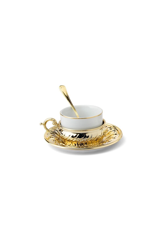 Чайный набор StradivariПосуда<br>Бренд: Гамма. Чайный набор (1 чашка 0.15л, 1 блюдце, 1 ложка), металл, фарфор. Страна: Италия<br>