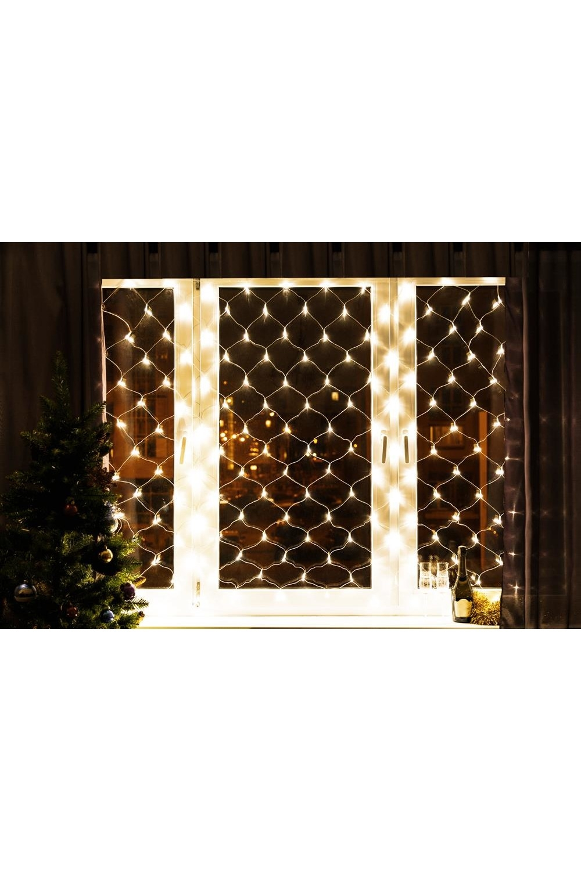 Гирлянда 1,5х1,5м 150 LED Тепло-Белые Сеть гирлянда светящаяся цвет белый