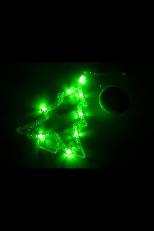 Фигура светодиодная на присоске ЕлочкаИнтерьер<br>Фигура светодиодная выполнена из пластикового короба в форме Елочки внутри которого равномерно расположены 8 светодиодов зеленого цвета свечения. Фигура крепится на ровную гладкую поверхность на присоску, которая расположена на батарейном блоке на расстоянии 20 см от фигуры на подвесе. Питание осуществляется при помощи 3 батареек типа AAA.<br>
