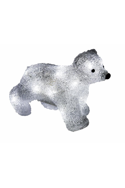 Акриловая светодиодная фигура МедвежонокИнтерьер<br>Акриловая светодиодная фигура Медвежонок высотой 18 см, светящаяся более чем 16 ярких диодов, на батарейках, выполненная по специальной технологии нанесения акрила имитируя шерстяной покров реального животного.<br>
