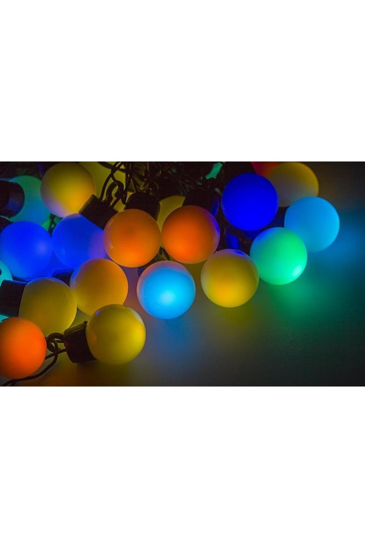 Гирлянда 10 м, 40 диодов, цвет RGB МультишарикиПодарки на Новый год 2018<br>Гирлянда  LED - шарики обладает эффектом смены цветов. <br>Благодаря хорошей влагозащищенности гирлянду можно использовать как в помещении, так и на улице.<br>Данная гирлянда имеет длину 10м. на которой равномерно расположены 40 шариков диаметром 45мм с цветом свечения RGB.<br>
