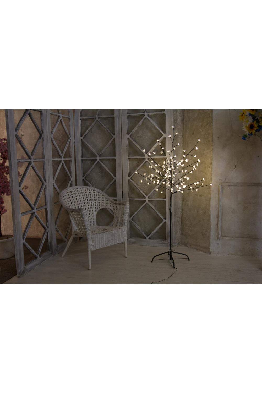 Дерево комнатное  белого цвета СакураИнтерьер<br>Дерево комнатное, коричневый цвет ствола и веток, высота 1,2 метра, 80 светодиодов белого цвета, трансформатор IP44, длина шнура питания 10 метров, основание металлическая крестовина<br>