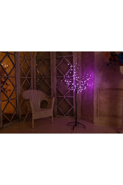 Дерево комнатное  розового цвета СакураИнтерьер<br>Дерево комнатное, коричневый цвет ствола и веток, высота 1,2 метра, 80 светодиодов розового цвета, трансформатор IP44, длина шнура питания 10 метров, основание металлическая крестовина<br>
