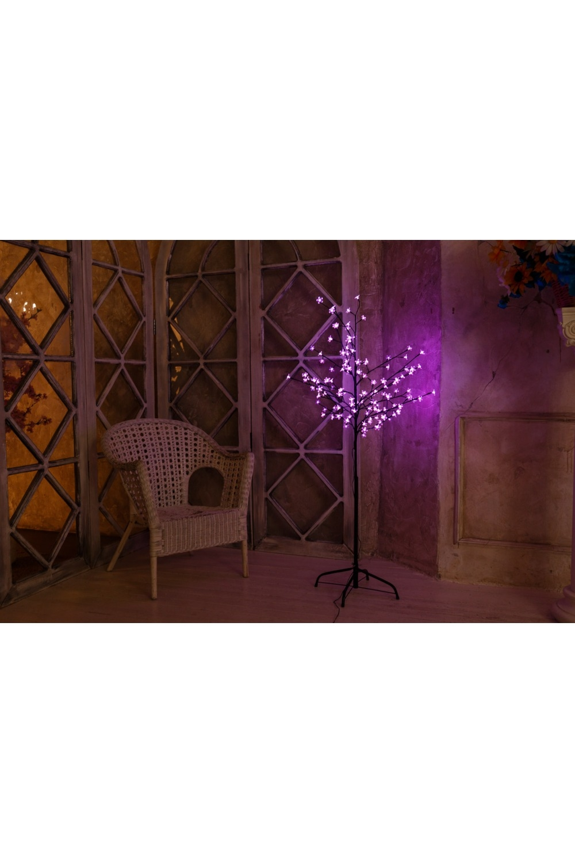Дерево комнатное  красного цвета СакураИнтерьер<br>Дерево комнатное, коричневый цвет ствола и веток, высота 1,5 метра, 120 светодиодов красного цвета, трансформатор IP44, длина шнура питания 10 метров, основание металлическая крестовина<br>