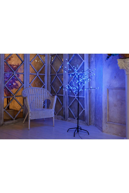 Дерево комнатное  синего цвета СакураИнтерьер<br>Дерево комнатное, ствол и ветки обернуты фольгой, высота 1,5 метра, 120 светодиодов синего цвета, трансформатор IP44, длина шнура питания 10 метров, основание металлическая крестовина<br>