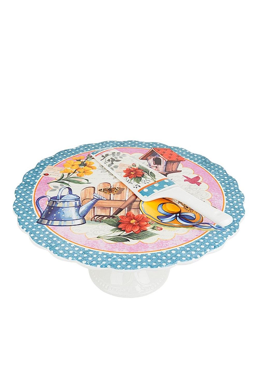 Подставка для торта МонсанПосуда<br>Подставка для торта (на ножке) с ложкой d=27,5см. h=12,5см. (ложка-24,5*5,5*0,5см.) Материал: Фарфор<br>