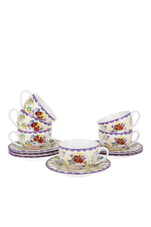 Чайный набор ПорталегреПосуда<br>Чайный набор 12пр. Объем 230мл. Материал: Костяной фарфор<br>