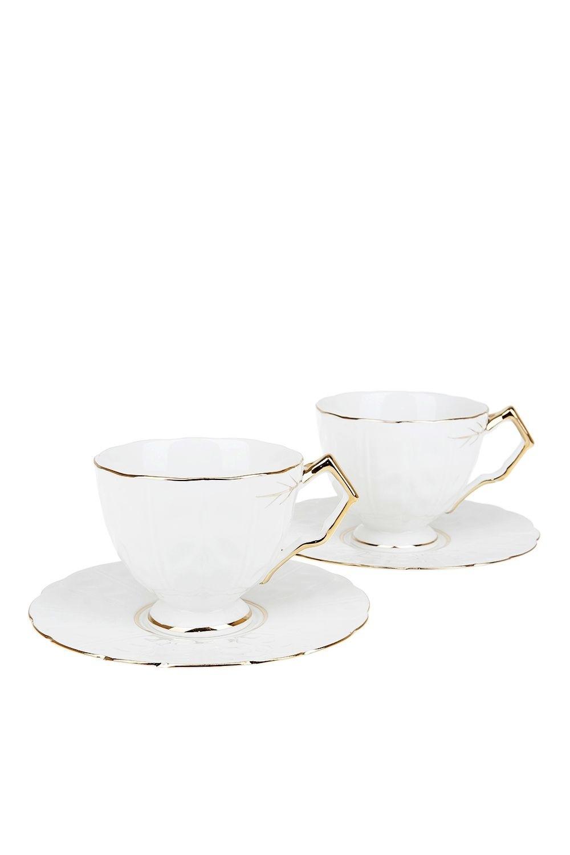 Чайный набор КальетаПосуда<br>Чайный набор 4пр. Объем 220мл. (фарфор, с золотой каймой) Материал: Фарфор<br>