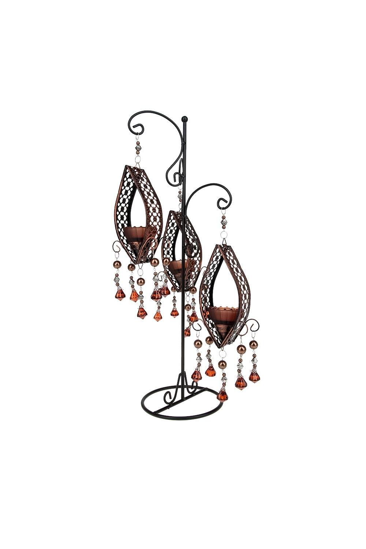 Подсвечник декоративный ЭльдорадоИнтерьер<br>Подсвечник декоративный (для 3-х свечей) 23*18*49см. (с декоративными стразами) (металл, стекло) Материал: Металл<br>