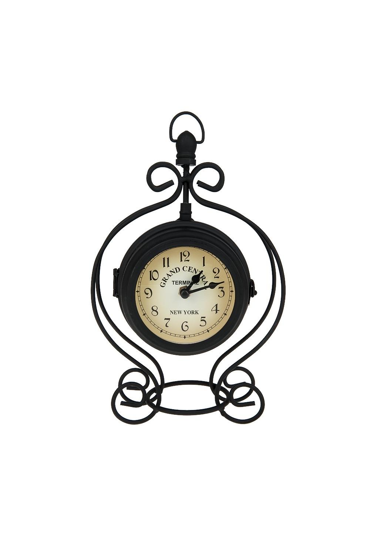 Часы настольные ГрацияИнтерьер<br>Часы настольные с термометром 17*9*27см. (d=10,5см., батарейка-1AA) (металл) Материал: Металл<br>